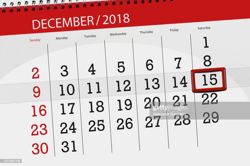 2018 年 12 月締め切りの日、土曜日、15 ヶ月間カレンダー プランナー : ストックイラストレーション