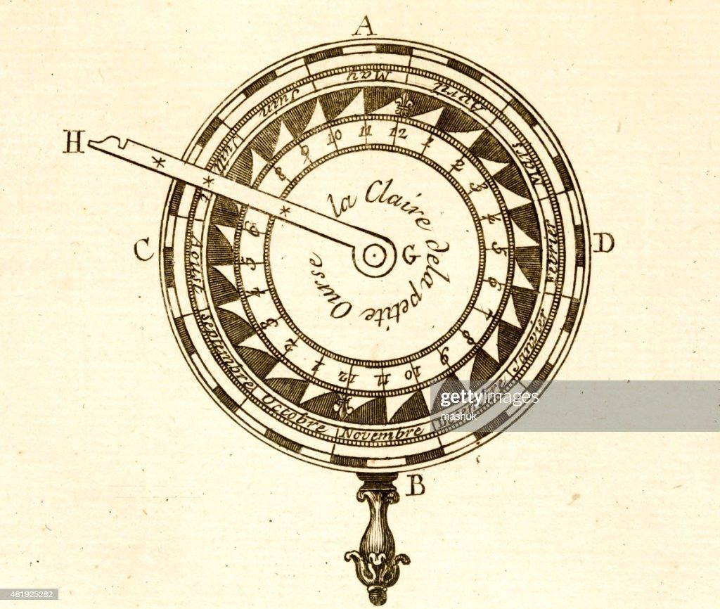 Calendar Science tool 18 century technical engraving : stock illustration
