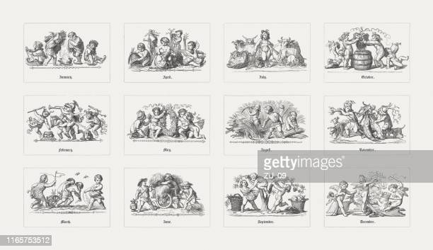 calendar with nostalgic children's motifs, wood engravings, published in 1865 - cherub stock illustrations