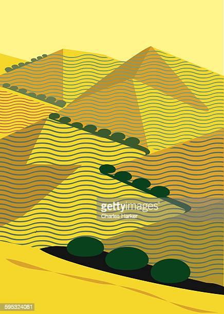 California hills in yellow geometric illustration