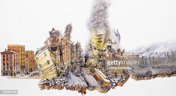 USA, California, San Francisco, Earthquake, 1906, causing devastation on large scale