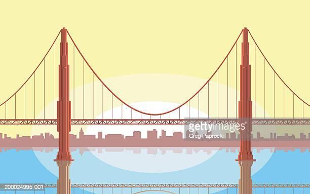 ilustraciones, imágenes clip art, dibujos animados e iconos de stock de usa, california, san francisco, golden gate bridge - puente colgante