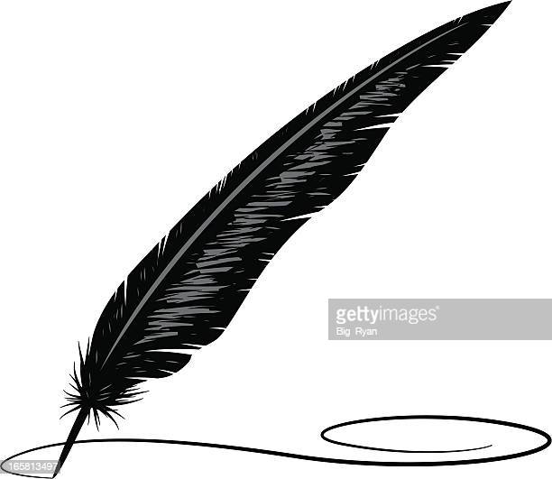 calligraphy feather - quill pen stock illustrations