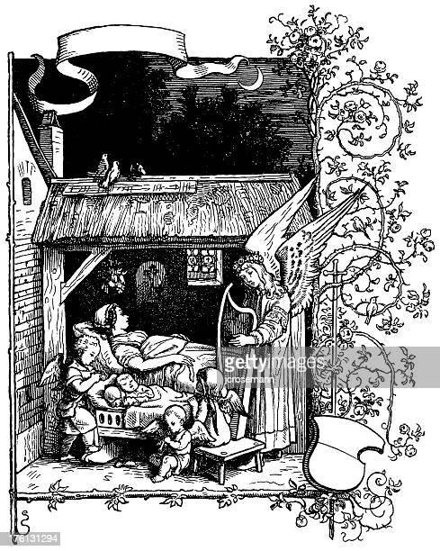 ilustrações de stock, clip art, desenhos animados e ícones de calma noite - bebe chegando