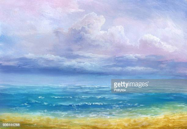 calm sea, oil painting - oil painting stock illustrations