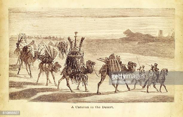 Caravana de camellos grabado ilustración