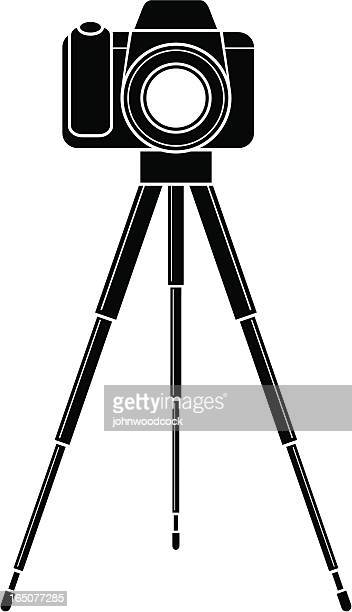 camera icon - camera tripod stock illustrations, clip art, cartoons, & icons