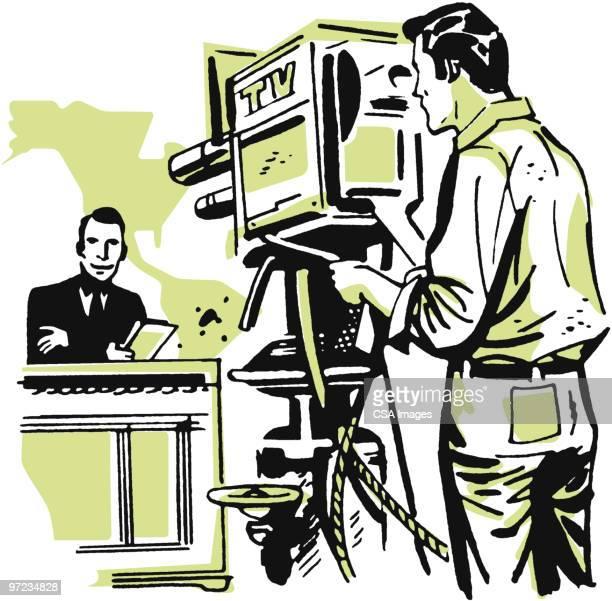 tv camera - film crew stock illustrations