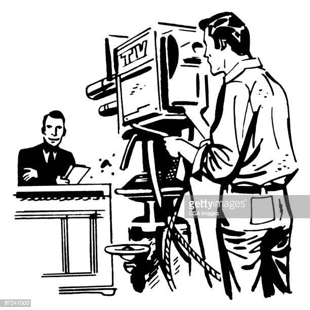 tv camera - cinematographer stock illustrations, clip art, cartoons, & icons