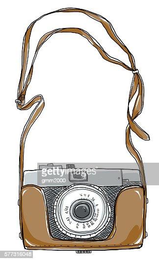 Camera Vintgae Hand Drawn Art And Strap Stock Illustration