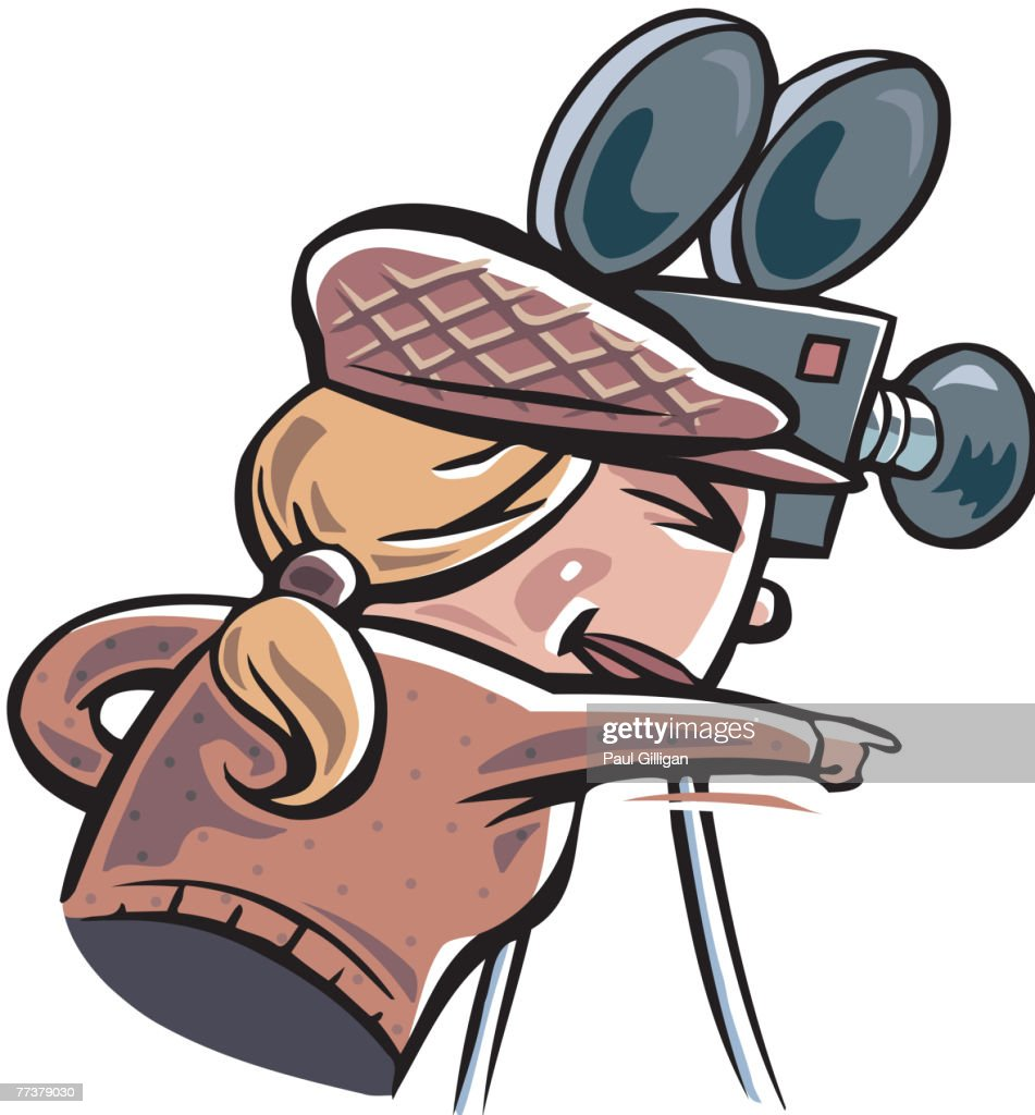A camera woman pointing while looking into her camera : Illustration