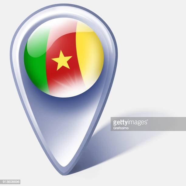 cameroon button map pointer with flag isolated on white - cameroon stock illustrations, clip art, cartoons, & icons