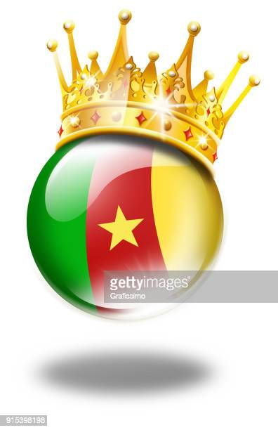 cameroon button with flag and winner crown isolated on white - cameroon stock illustrations, clip art, cartoons, & icons
