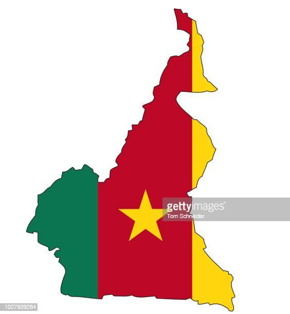 cameroon, flag, outline - cameroon stock illustrations, clip art, cartoons, & icons