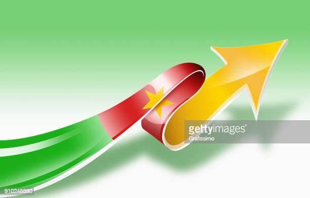 cameroon flag with arrow upwards - cameroon stock illustrations, clip art, cartoons, & icons
