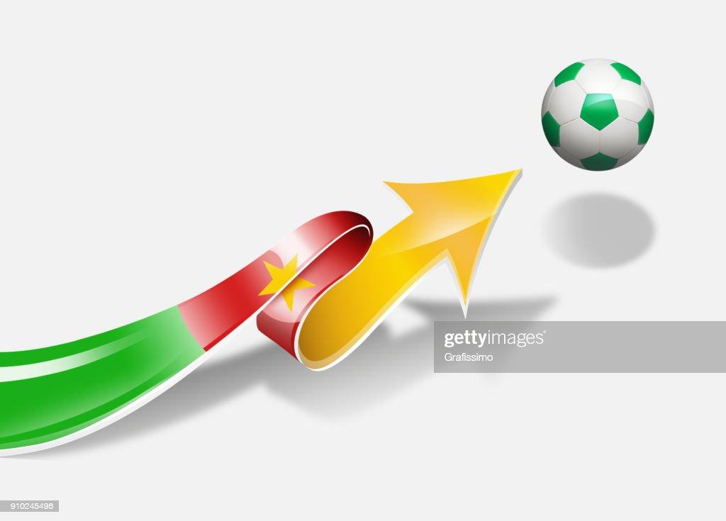Cameroon Flag With Arrow Upwards Soccer Ball Stock Illustration