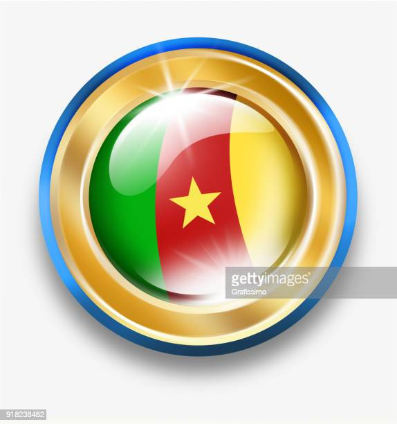 cameroon golden button with flag isolated on white - cameroon stock illustrations, clip art, cartoons, & icons