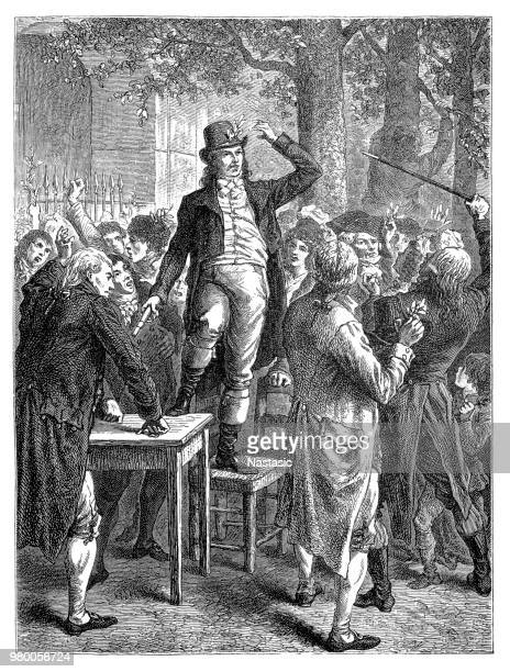 camille desmoulins at the palais-royal, french revolution (18th century), paris, france - political rally stock illustrations, clip art, cartoons, & icons