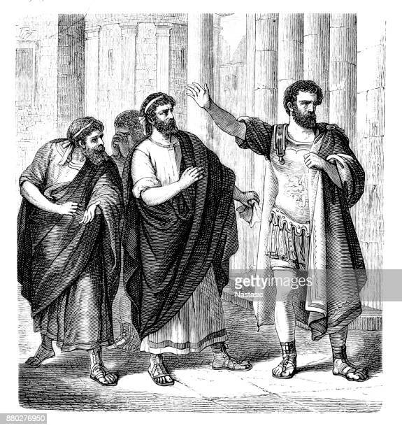 camillus, marcus furius, circa 446 - 365 bc, roman general and politician, dictator goes into exile - capitol rome stock illustrations, clip art, cartoons, & icons
