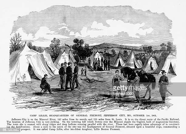 Camp Lillie, Jefferson City, Missouri, 1861 Civil War Engraving