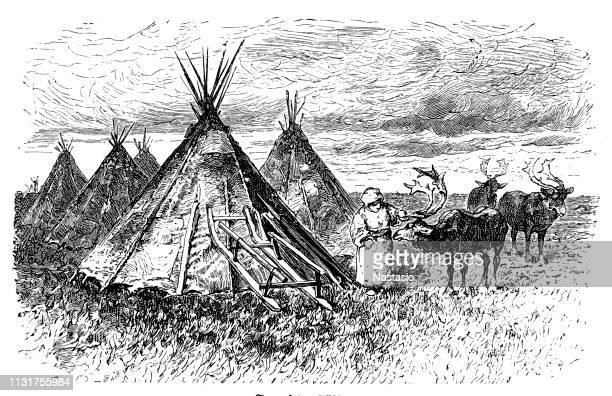 Camp of nomadic tribe Samoyed nomadic peoples of northern Siberia, who traditionally live as reindeer herders
