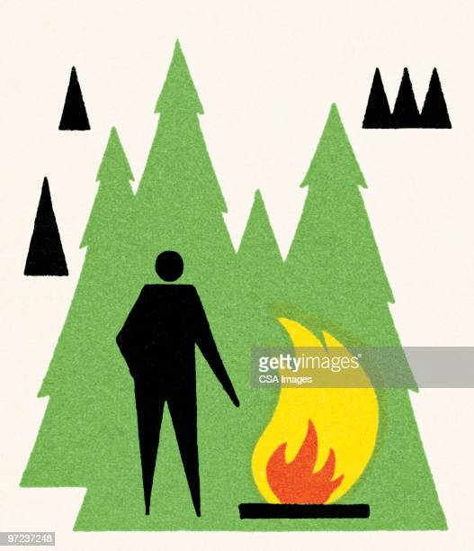 campfire - pine wood material stock illustrations, clip art, cartoons, & icons