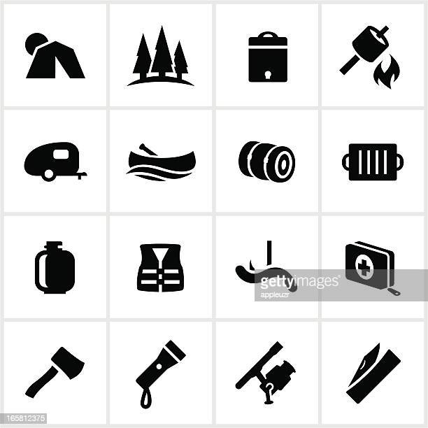 camping and outdoor recreation icons - flashlight stock illustrations, clip art, cartoons, & icons