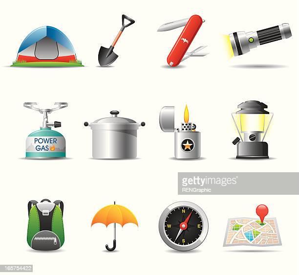 camping icon set   elegant series - flashlight stock illustrations, clip art, cartoons, & icons