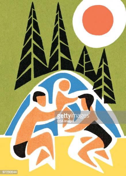 camping - lakeshore stock illustrations