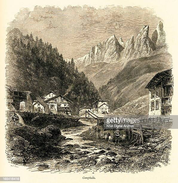 campitello, italy (antique wood engraving) - village stock illustrations
