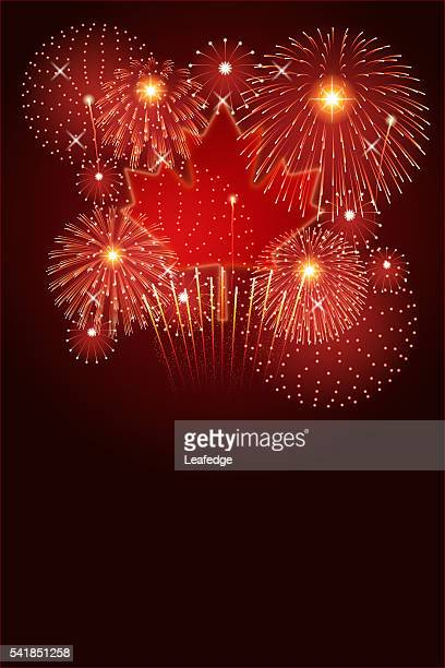 canada day background[maple leaf and fireworks] - canada day stock illustrations