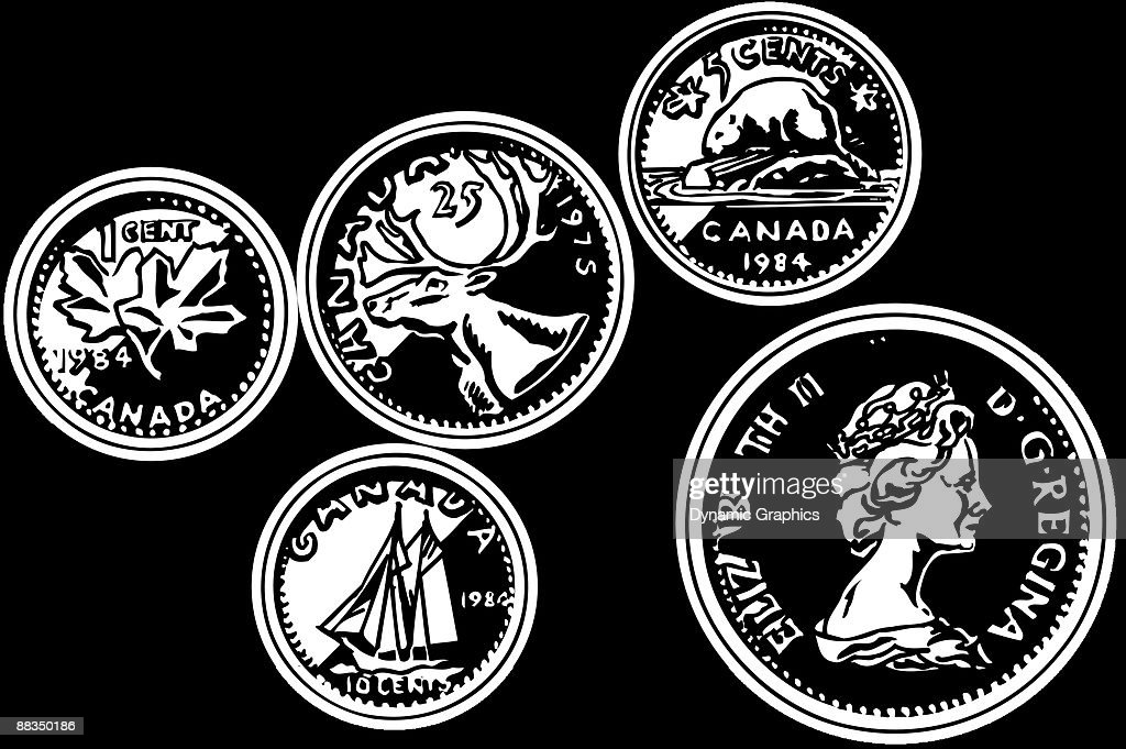 Canadian Coins 1 Cent Canada 10 Cents 5 Cents Layered Vector Art