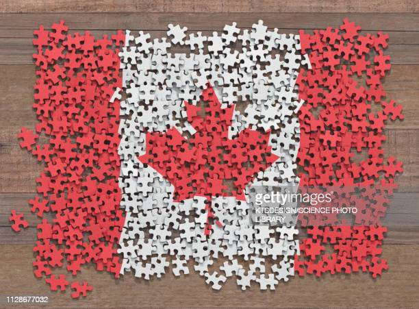 canadian flag jigsaw puzzle, illustration - canada stock illustrations
