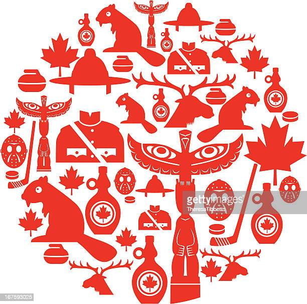 canadian icon montage - traditionally canadian stock illustrations