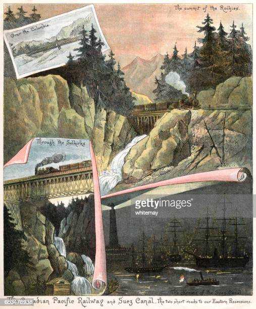 Canadian Pacific Railway and Suez Canal (Victorian illustration)