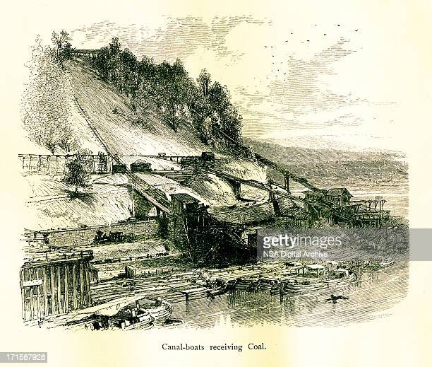 Canal boats on the Lehigh River, Pennsylvania, wood engraving