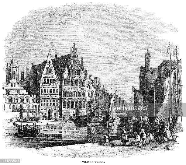 Canal scene in Ghent - 1855 engraving