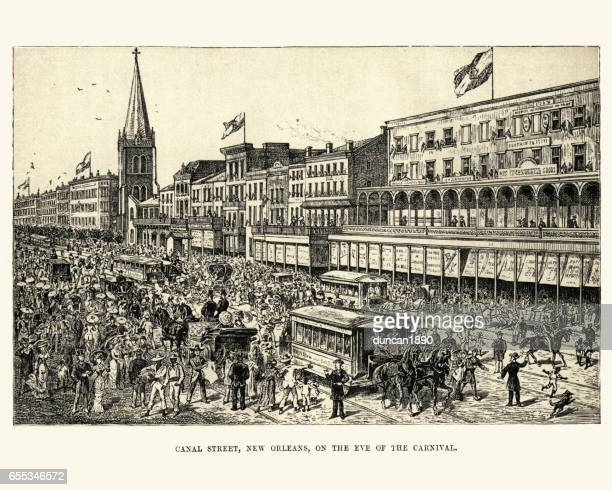 canal street, new orleans on the eve of the carnival - new orleans stock illustrations, clip art, cartoons, & icons