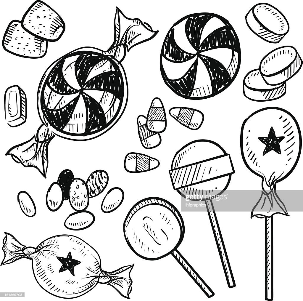Candy assortment vector sketch