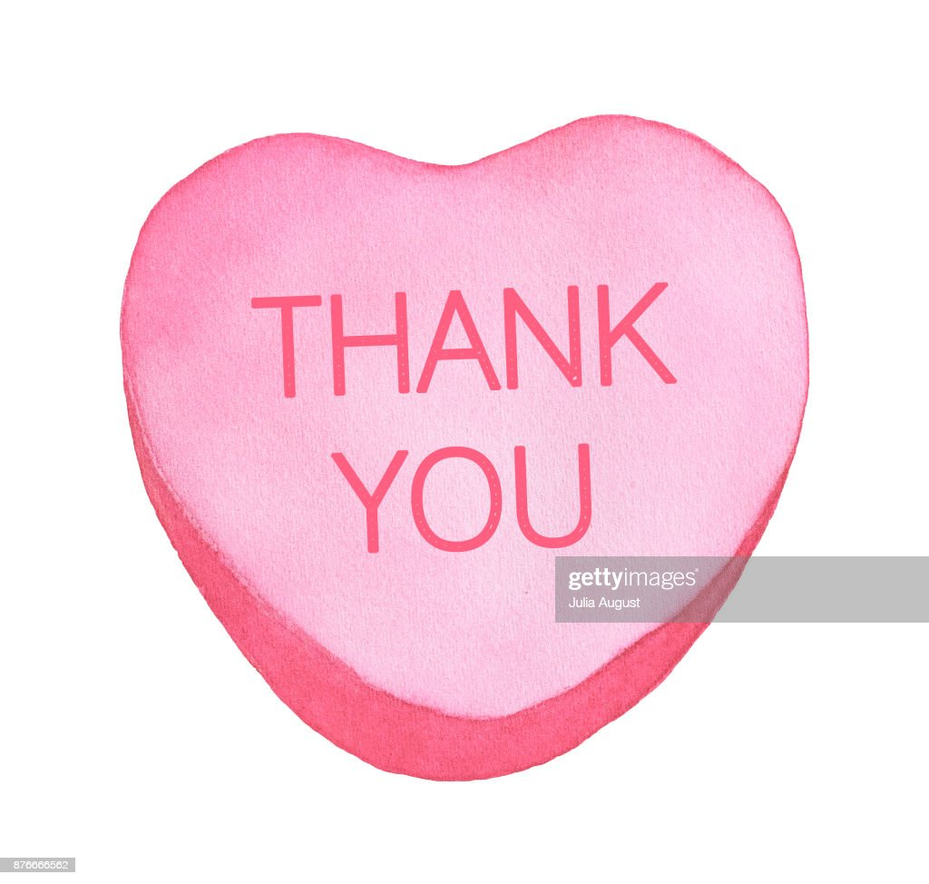 candy heart with words thank you pastel pink color top view love