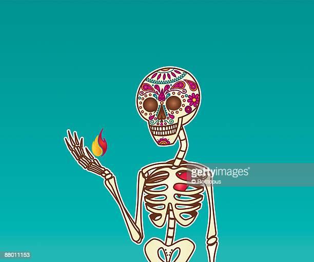 ilustraciones, imágenes clip art, dibujos animados e iconos de stock de candy skull - calavera - esqueleto humano