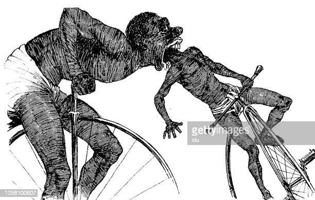 ilustrações de stock, clip art, desenhos animados e ícones de cannibal hunting on a penny farthing bicycle - canibalismo