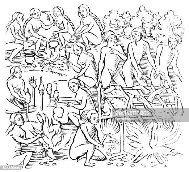 cannibalism by tribe of tupinamba in brazil - indian costume stock illustrations, clip art, cartoons, & icons