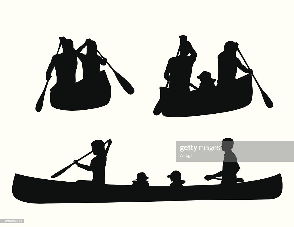 Canoe Kids Vector Silhouette stock illustration - Getty Images