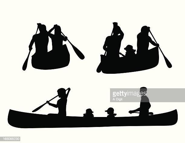 Canoe Kids Vector Silhouette