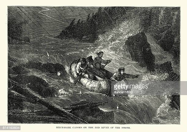 canoes on red river of the north, 19th century - rapid stock illustrations