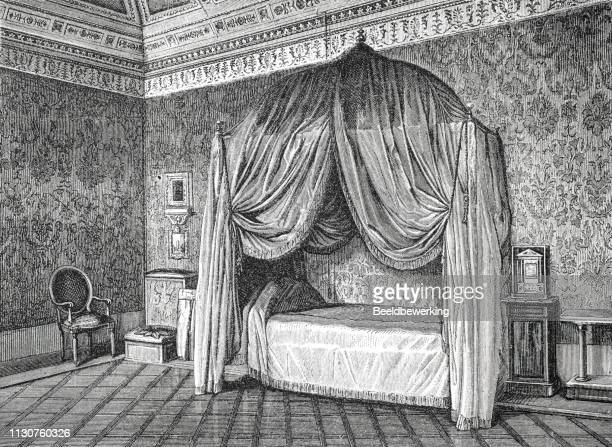 canopy bed in Bedroom pope pius ix illustration 1873 'the Earth and her People'