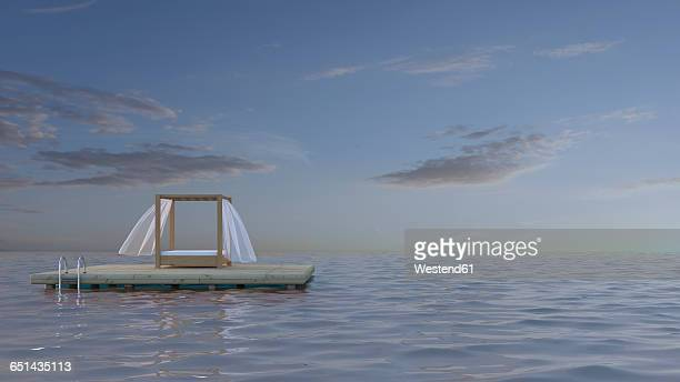 canopy bed on platform in the sea, 3d rendering - floating on water stock illustrations