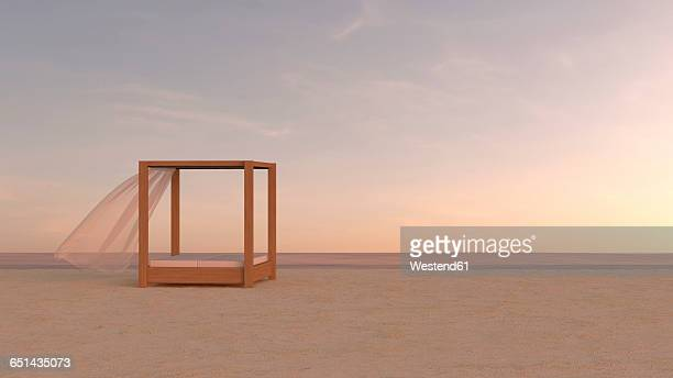 canopy bed on tranquil beach, 3d rendering - sunset stock illustrations