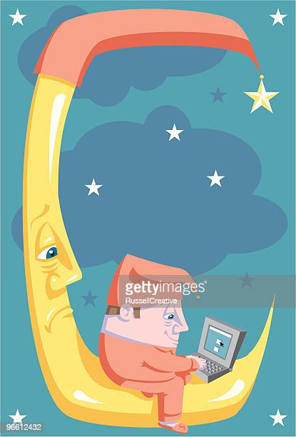 can't sleep? go on the computer - man in the moon stock illustrations, clip art, cartoons, & icons